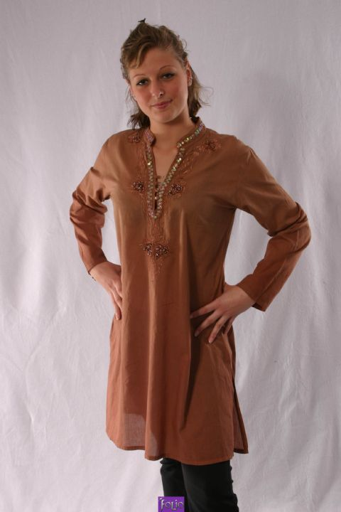 2-21131 Cotton Kurta~Traditional Plain Handwoven Cotton Hippy Kurta~By Bares